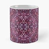 White Pink Mirror Purple Red Colorful Black Pattern Taza de caf con Leche 11 oz
