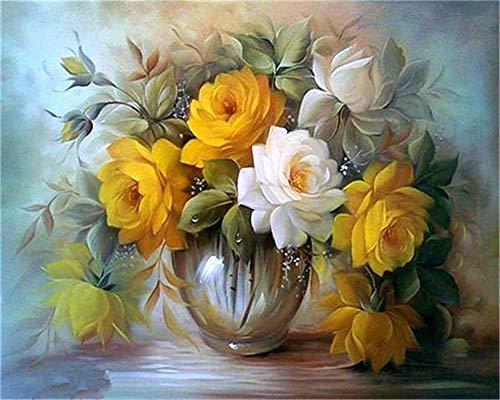 YEESAM ART DIY Ölgemälde Malen nach Zahlen Erwachsene Kinder, Gelbe & Weiße Blumen Zahlenmalerei ab 5 Öl Wandkunst (Gelbe, ohne Rahmen)