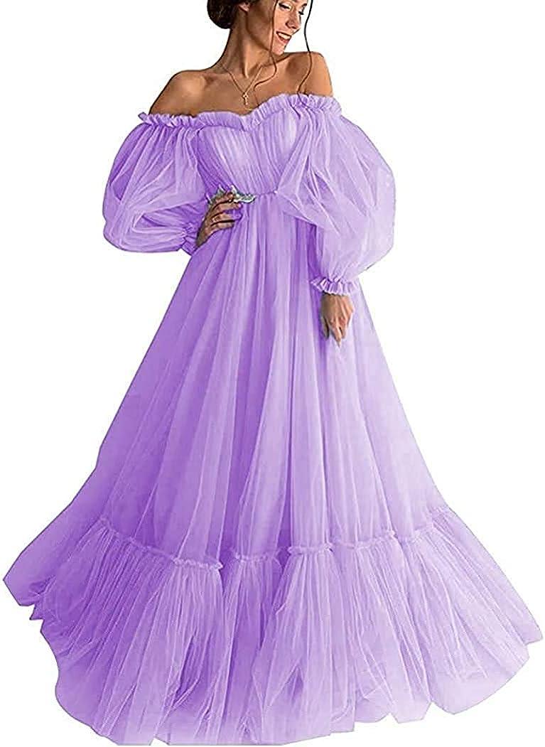 Xjizu Long Puffy 営業 Sleeve Prom Dress Women Shoulder [正規販売店] Formal for Off