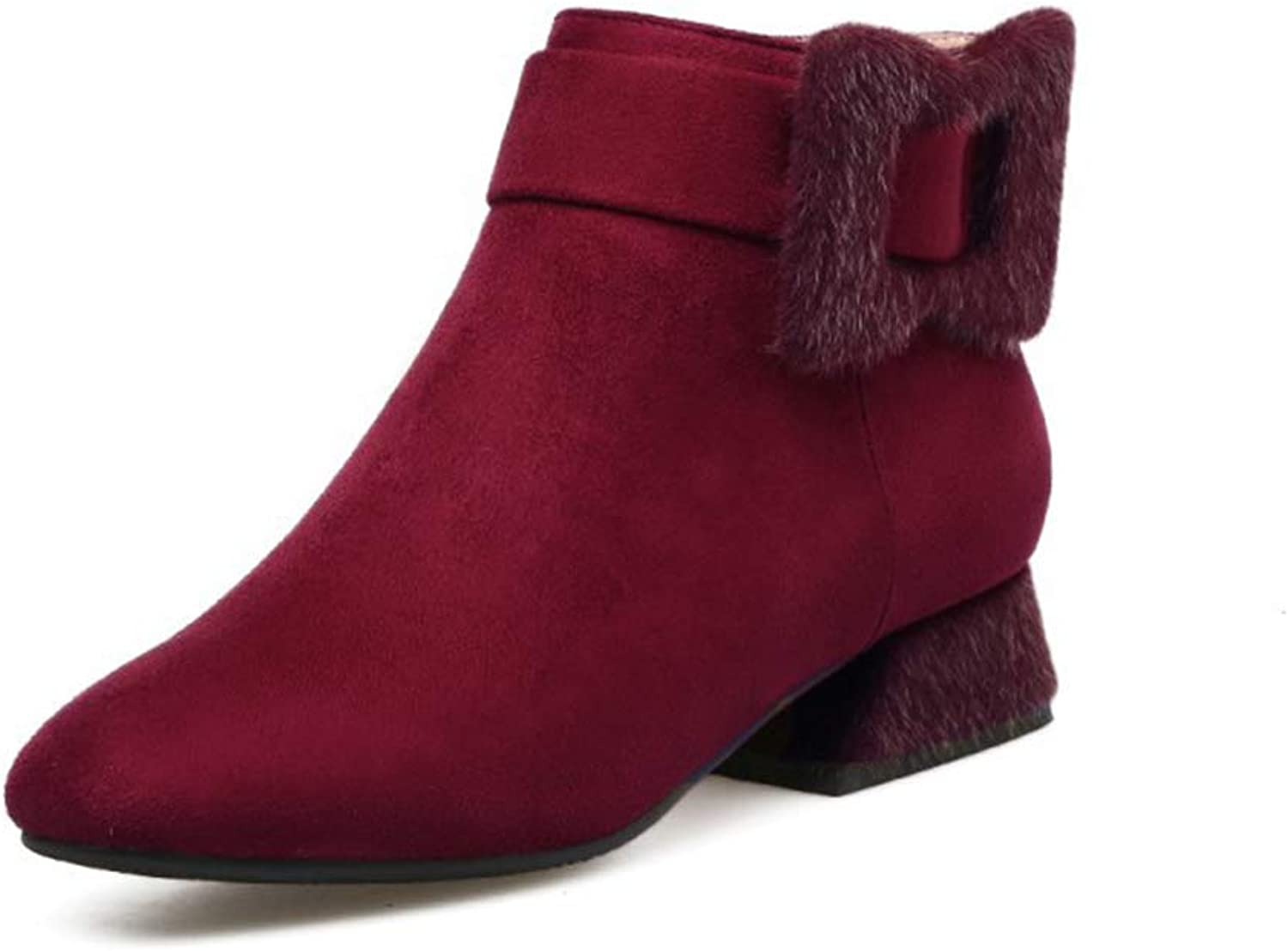 Women's Booties, Low-Heel Plus Velvet Keep Warm Tassel Martin Boots Ladies Pointed Thick Heel 3cm Fashion Boots (color   A, Size   33)