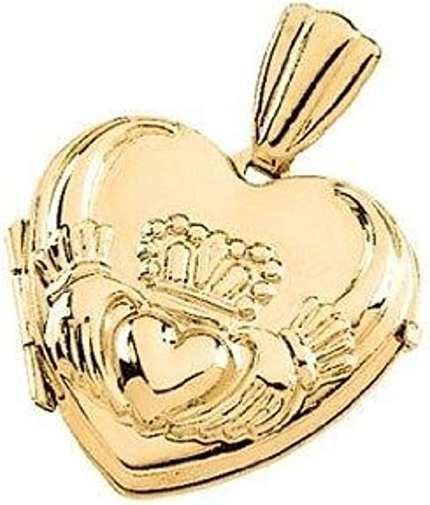 PicturesOnGold.com mart Popular overseas Solid 14k Yellow Gold Locket 1 Claddagh Heart