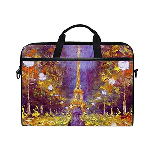 Bolsa Para Portátil Art France Paris Eiffel Tower - Bolso Para Computadora Portátil Para Correa De Hombro Ajustable