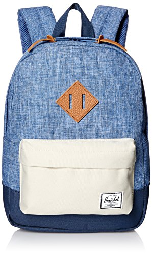 Herschel Supply Co. Patrimonio niños mochila, Limoges Crosshatch/Pelican/Navy/Tan Leather (azul) - 10313-01395-OS