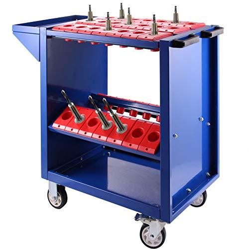 VEVOR Carretilla de Herramienta Plataforma de Servicio BT40 CNC, Carrito de Herramientas de Acero con 4 Ruedas de Goma con 2 Frenos, Carrito para Herramienta Peso de 25 kg Estable y Suave Color Azul