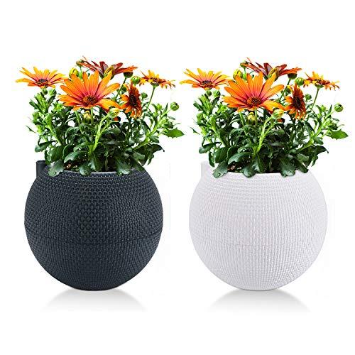 T4U 18cm Selbstwässernder Blumentopf Weiß und Anthrazit 2er-Set, Plastik Wasserspeicher Selbstbewässerungstopf mit Docht für Innen- und Außenbereich
