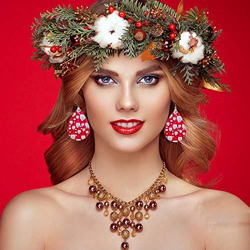 HINK Mujeres Nias Navidad Fiesta de Navidad de Cuero de imitacin Pendientes Colgantes Accesorio Ropa Zapatos y Accesorios Accesorio