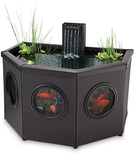 Pennington Aquagarden, Affinity Half-Moon Free-Standing Pond, Water Feature Pool, Includes Inpond 5 in 1 300 Pond & Water Pump with UV Clarifier, 89 Gallon Decking Pond, Three Fountain Displays, Mocha