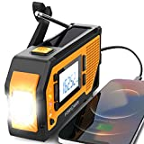 FosPower Emergency Radio, LCD Display Solar Hand Crank Portable NOAA Weather Radio for Indoor and Outdoor Emergency with AM/FM, LED Flashlight with 2000mAh Power Bank Charger and SOS Alarm - Orange