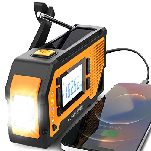 FosPower 2000mAh NOAA Emergency Weather Radio (Model D4) Portable Power Bank Solar Charging, Hand Crank & Battery Operated, LCD Display, SOS Alarm, AM/FM/WB & Flashlight for Outdoor Emergency – Orange