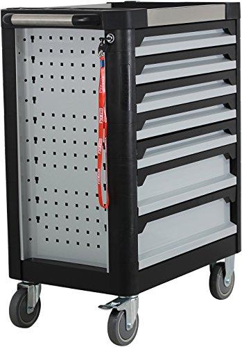 Ultra Edition Werkstattwagen | 7 Schubladen – 5 gefüllt mit Handwerkzeug | Werkzeugwagen abschließbar + COB Akku Arbeitsleuchte - 4