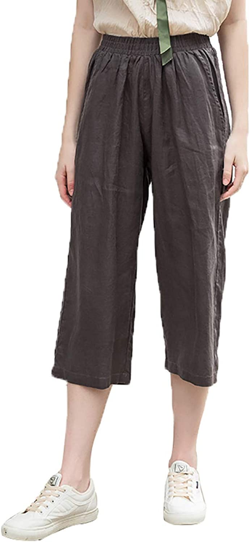 Amazhiyu Womens Elastic Waist Wide Leg Pants Summer High Waist Loose Casual Trousers with Pockets