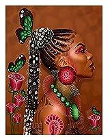 アフリカの女性の油絵手描きのユニークなギフトDIYフレームの写真大人のための数字の女の子家の装飾 40 * 50 cm(フレームなし)