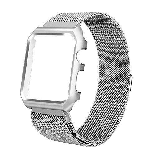 Pulseira Milanese case Para Apple Watch 42mm Aço Inox prata