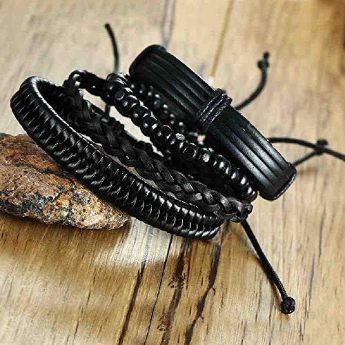NJSDDB Armband Houten Kralen PU Lederen Hand Band Zwart Vierdelig Pak Armbanden & Bangles voor Mannen