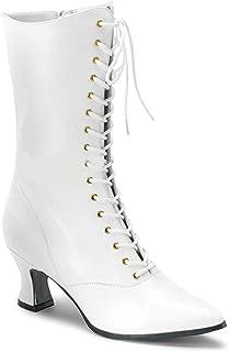 120 Ladies Size 9 White VIC-120 Granny Boot W Zipper