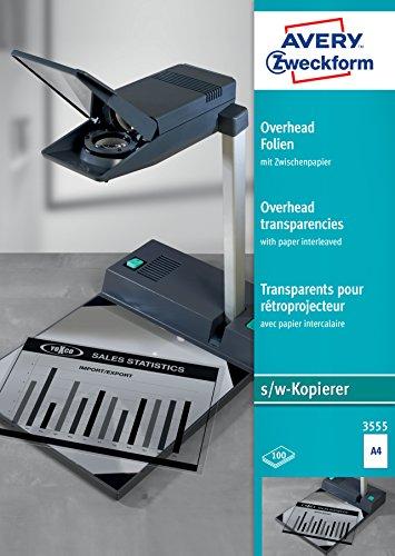AVERY Zweckform 3555 Overhead-Folien für S/W Kopierer (100 Transparentfolien, A4, unbeschichtet, nur für Einzelblatteinzug, mit Zwischenpapier, Folienstärke 0,10mm, lösemittelfrei)