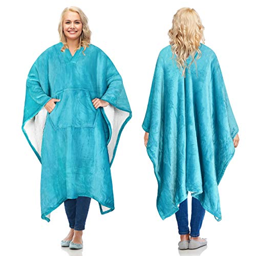 Sherpa Wearable Blanket Poncho for Adult Women Men, Wrap Blanket Cape with Pocket, Warm, Soft, Cozy, Snuggly, Comfort Gift, No Sleeves, Aqua