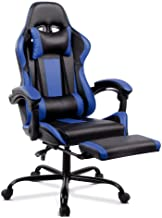 ALFORDSON Gaming Racing Chair Executive Sport Office Chair with Footrest PU Leather Armrest Headrest Home Chair in Blue Co...