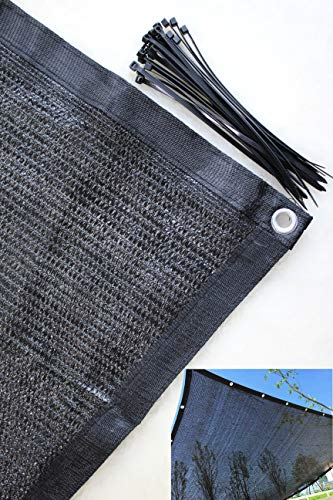 YGS Perfect Sunblock Shade Cloth Grommets 70% UV 20 ft x 20 ft Black Color Plant Cover Greenhouse Barn Kennel Pool Pergola Swimming Pool