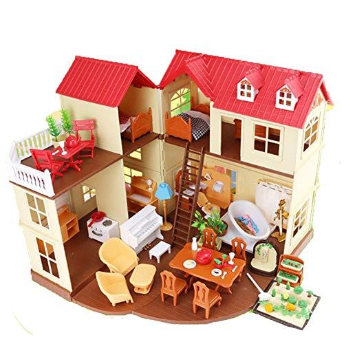 LIYANG Puppenhausspielzeug Große Holzpuppen Haus Prinzessin Haus DIY Puppen Haus Haus Modell 3D Puzzle für Kinder (Farbe : Pink, Size : 50×42×34 cm)