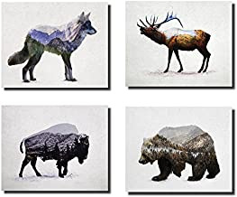 Rustic Elk, Bison, Wolf and Bear Landscape Set; Cabin Lodge Decor; Four 10x8in MDF Mounted Prints