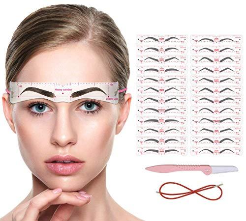 ANDERK Augenbrauen Schablone 24 Stile, Wiederverwendbar Augenbrauen Schablone Zum Zupfenfür Anfänger Make-up, Formung der Augenbrauen Schablonen Bausatz für Pflegen und Zeichnen von Browsern