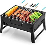 Fing BBQ Charcoal Grill, Folding Portable Lightweight Small Barbecue Grill Tools for Outdoor
