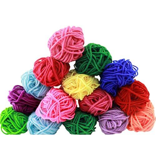 Senmubery 12 colores de hilo de algodón coloreado, hilado tejido a mano, material plano del rompecabezas del hilado coloreado, 12 rollos/paquete