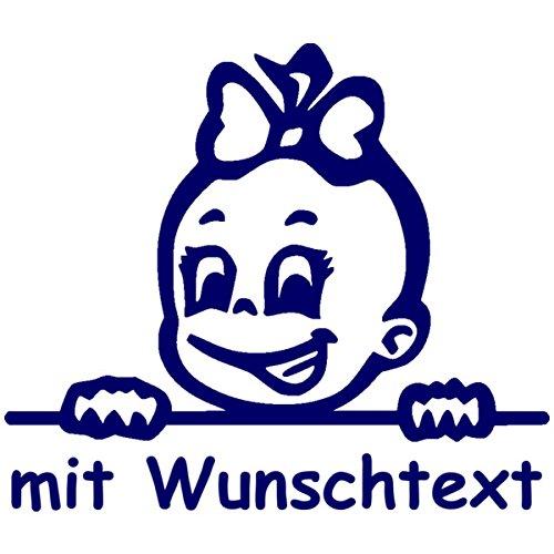 Babyaufkleber mit Name/Wunschtext - Motiv 690 (16 cm) - 20 Farben und 11 Schriftarten wählbar