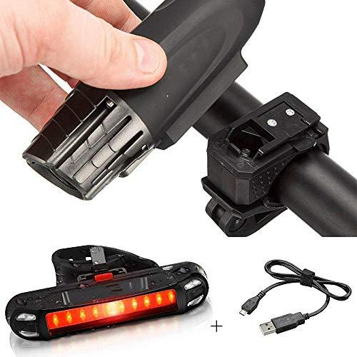 XWYWP Juego de luces de bicicleta para bicicleta con luz delantera recargable por USB, luz trasera de bicicleta, luz LED, resistente al agua, lámpara de bicicleta, accesorios de linterna