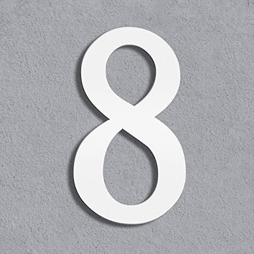 Thorwa® moderne Design Edelstahl Hausnummer Cabaletta, weiß pulverbeschichtet, H: 200mm, RAL 9003 (8)