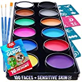 Blue Squid Face Paint Kit for Kids – 30 Stencils, 12 Large Washable Paints, 3 Brushes, Safe Facepainting for...