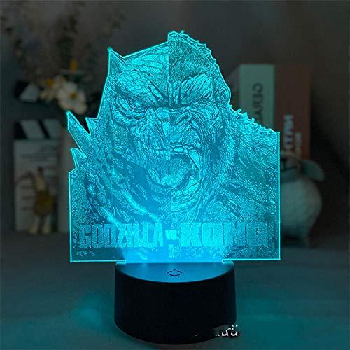 Lámpara Godzilla vs Kong, 7/16 colores Juego de amigos Godzilla y Kong Luz LED 3D Ilusión Monstruo Dinosaurio Luz nocturna Atmósfera Mesitas de noche Luces nocturnas Luces con sensor para niños