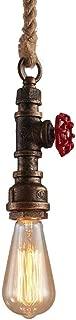 Modeen Vintage Hemp Rope E27 Ceiling Pendant Light Fixture Industrial Retro Farmhouse Metal Water pipe Aged Rustic Bronze Hanging Lamp Restaurant Home Kitchen Bathroom Ceiling Fan Lighting