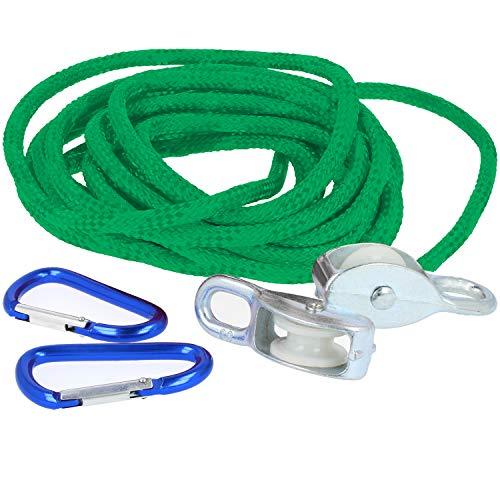 com-four® Flaschenzug für Kinder ab 8 Jahren, Seilzug bis max. 15kg (grün)
