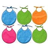 Ti TIN - Pack 6 Baberos Quitababas para Bebé con el Rizo Forrado 90% Algodón - 10% Poliéster | Baberos para Bebés de 0 a 6 Meses Cierre con Cintas. Suaves y Absorbentes.