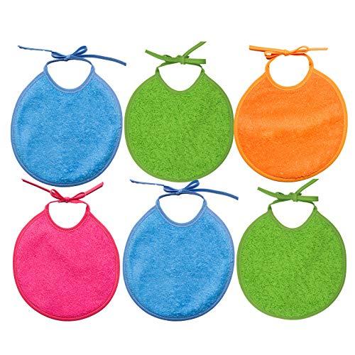 Ti TIN - Pack 6 Baberos Quitababas para Bebé con el Rizo Forrado 90% Algodón - 10% Poliéster   Baberos para Bebés de 0 a 6 Meses Cierre con Cintas. Suaves y Absorbentes.