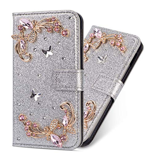 Flip Wallet Case for iPhone 6/6s Silver Glitter Cool Cute 3D Butterfly & Chain Diamond Buckle Bling Leather Stand Function Flip Kickstand Magnetic Book Wallet Cases for iPhone 6s