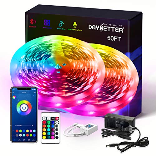 Daybetter Smart RGB Led Strip Lights with Bluetooth,50FT Led Lights for Bedroom APP Control,SMD5050 Multicolor led Light Strips Sync to Music Apply for Room,Kitchen,Bar,Party Decoration