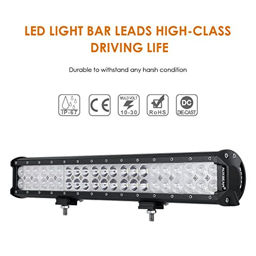 Auxbeam 20 Inch LED Light Bar 126W Light Bar with 42pcs 3W Led Off Road Driving Lights Spot Flood Combo Beam for Jeep Driving Off Road ATV SUV UTV