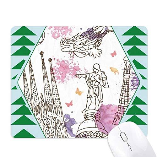 foot barcelone statue de la cathédrale en espagne tapis de souris green pine tree tapis en caoutchouc