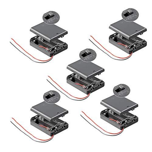 5X Batteriehalter | 3X AA Mignon | mit EIN Aus Schalter | lose Kabelenden | geschlossenes Gehäuse | wasserabweisend | schaltbar | Batteriefach Akkuhalter Aufbewahrungsbox | 5 Stück
