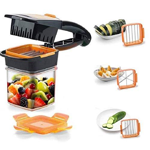 GeniusNicerDicerQuick Kit Coupe-légumes en Acier Inoxydable et Plastique, Vert et Orange, 7pièces