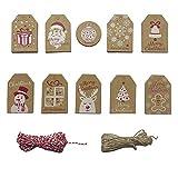 Étiquettes de cadeau de Noël, 102 pièces étiquettes de cadeau en papier Kraft étiquettes étiquettes 5x7.5cm petit papier étiquettes de Noël pour la décoration d'emballage de cadeaux