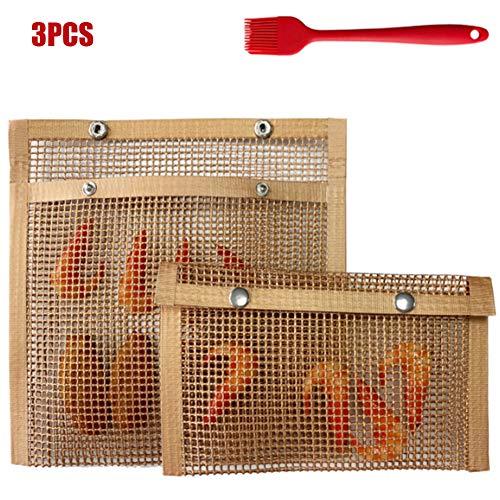 HHt Wiederverwendbare Taschen Barbecue Grill Mesh Bag Gekochte Barbecue Anti-Adhesive Netztasche Nonstick Pan für Elektro Gas Charcoal Grill,Gelb,3Pcs