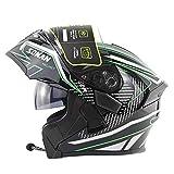 WMING Motocicleta Bluetooth Casco/Multi-función de Doble Lente Anti-Niebla Casco con Auricular Bluetooth/Hombres y Mujeres Cuatro Estaciones Casco Seguro Flip,Verde,M