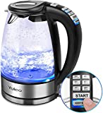 YOLEO Electric Kettle with Temperature Control, 12381 Blue Illuminating Glass Kettles, 1.7L Glass Kettles...