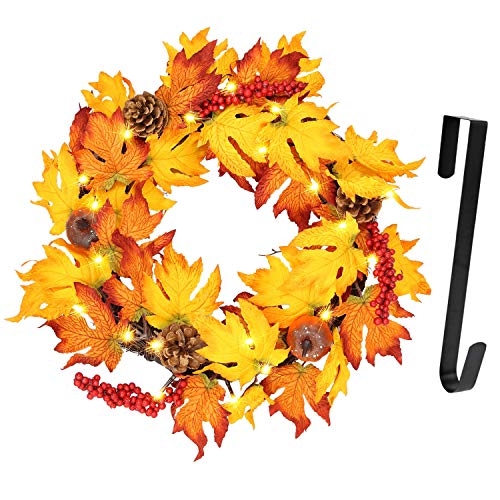 Twinkle Star 17' Fall Wreath withMetal Hanger, Pre-lit Lights Autumn Harvest Wreath, Multicolor...