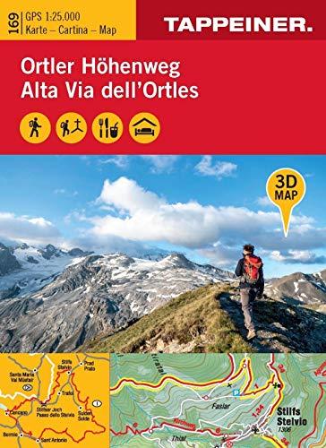 3D-Wanderkarte Ortler-Höhenweg 1:25.000. Ediz. tedesca, italiana e inglese: Cartina escursionistica 3D Alta Via dell'Ortles: 169