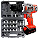 Terratek 83pcs Cordless Drill Driver 18V/20V-Max Lithium-Ion Combi Drill, Electric Screwdriver, Accessory Kit, LED Work Light, Quick Change Battery & Charger Included